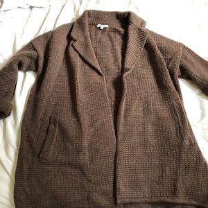 Madewell waffle knit brown coatigan size m